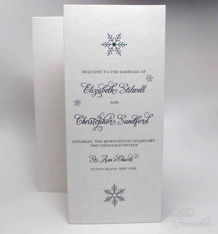winter wedding wedding program invitation fascination