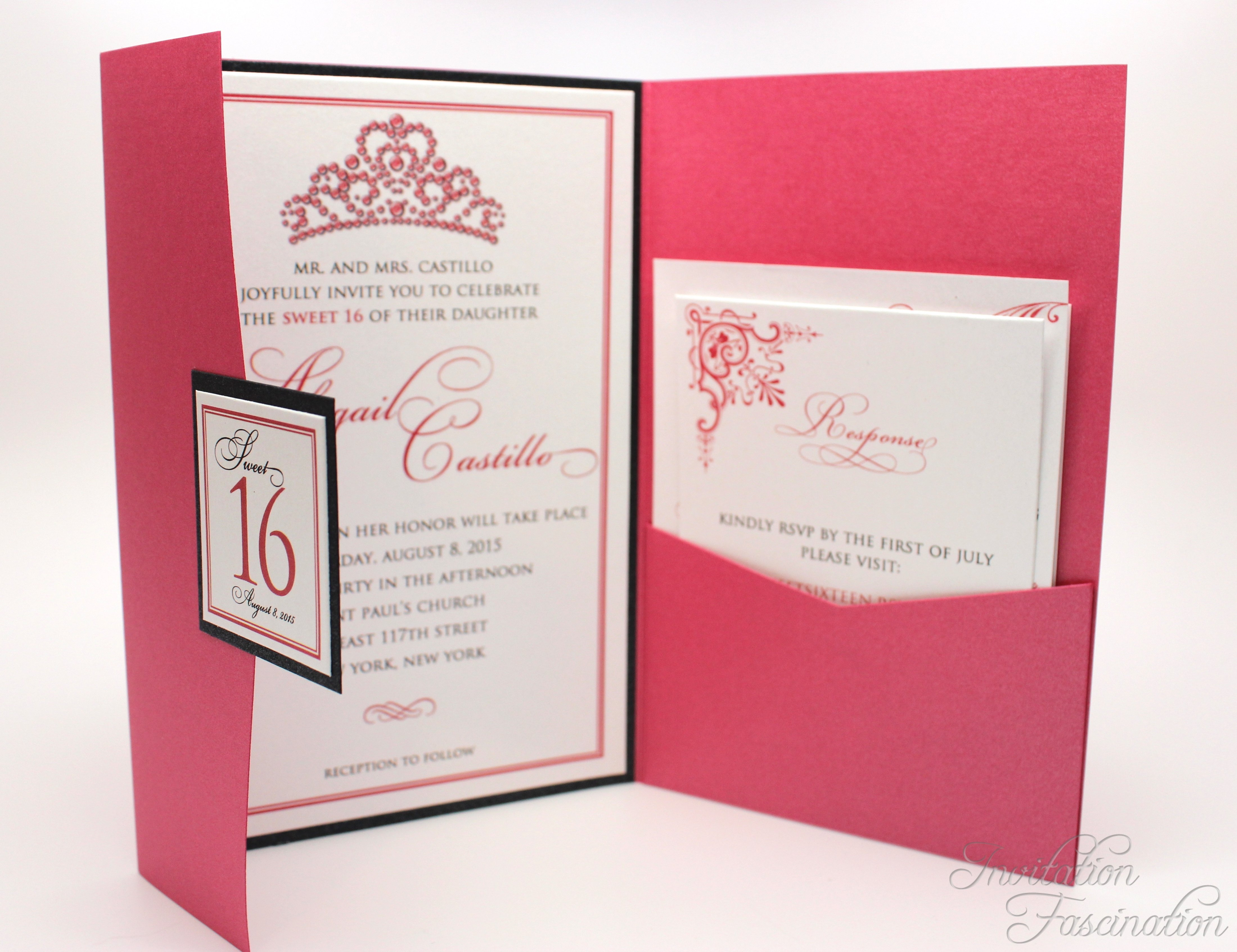 Elegant Pink Sweet 16 Invitations | Invitation Fascination