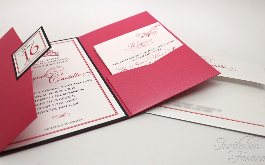 Elegant Pink Sweet 16 Invitations