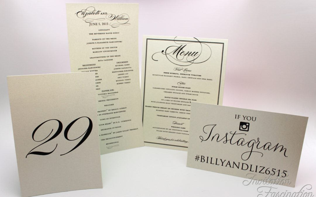 Place cards, programs, menus, galore!