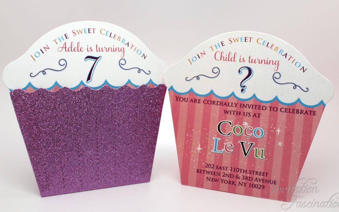 Cupcake Glitter Birthday Invitations